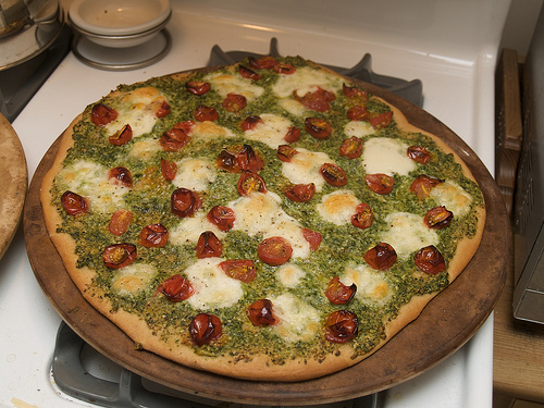 Wild Leek Pesto, Roasted Cherry Tomato and Boccocini Pizza