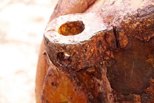Rusting gun barrel, in Cape Spear