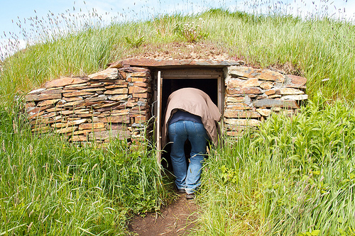 Chris nearly getting stuck in a root cellar
