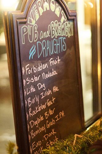 Vermont Pub & Brewery draft list