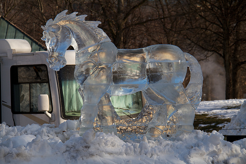 Ice horse in Boston Common