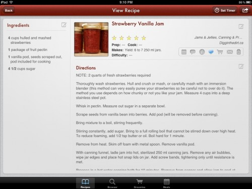 A recipe on the iPad in the Paprika app