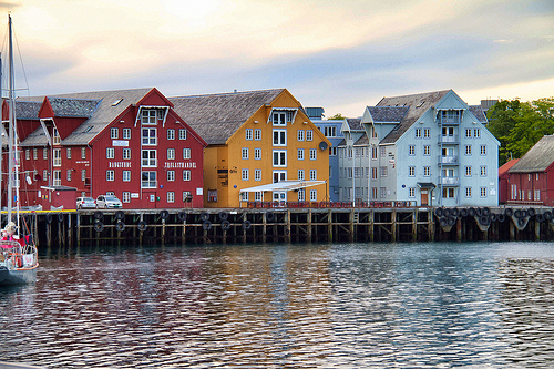 Old wooden buildings along the waterfront, Tromsø, Norway