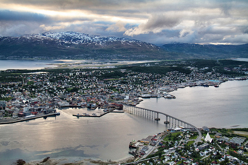 Midnight sun in Tromsø, from the top of the nearest mountain