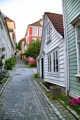 Cobblestone streets of Bergen