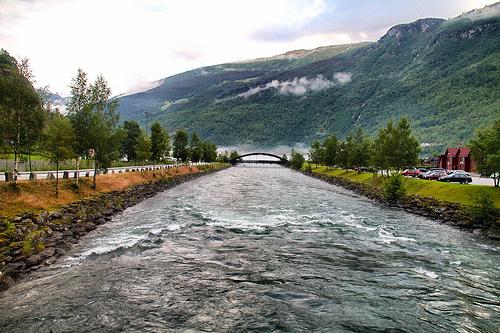 The powerful, swift Flåm river