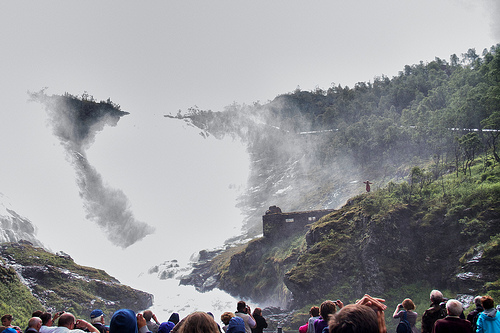 The Kjosfossen waterfall performance