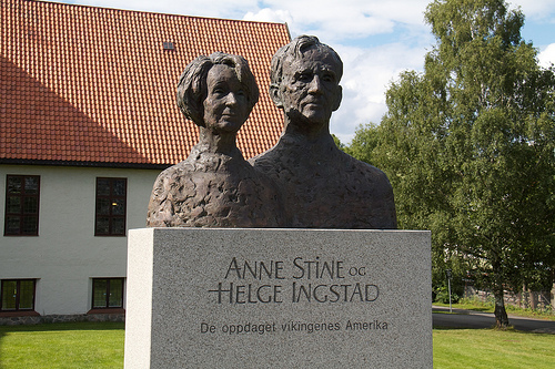 Busts of Norwegian explorers Anne Stine and her husband Helge Ingstad