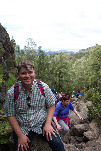 Climbing up to Preikestolen
