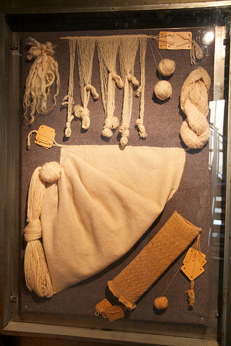 Examples of textiles that were found in local bogs
