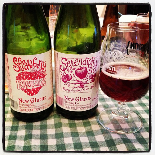 New Glarus Strawberry Rhubarb and Serendipity fruit beers on this gorgeous Saturday night.