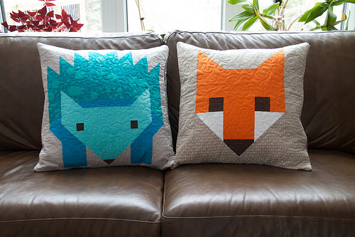 Hedgehog and Fox Pillows
